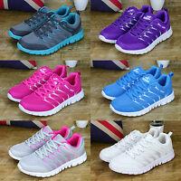 Damen Atmungsaktiv Sneaker Freizeit Turnschuhe Laufschuhe Sportschuhe Weiß Blau