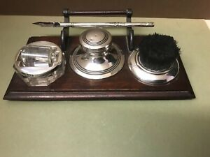 3 PIECE SILVER MOUNTED DESK STAND, C/O INKWELL, NIB WIPE AND ROLLER. ANTIQUE.