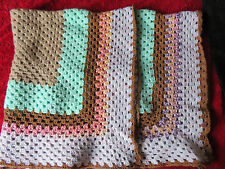 LOVELY HAND CROCHETED GRANNY BLANKET IN MUTED SHADES 34'' - FOR GREYHOUND RESCUE