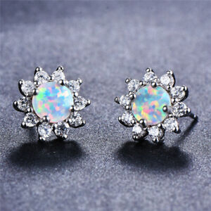 Fashion White Dangle simulated Opal Stud Earrings Silver Filled Wedding Jewelry