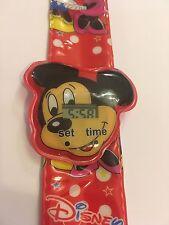 Reloj de Pulsera Mickey Mouse Niños Digital Rojo Slap Reloj de Pulsera Correa fácil Niñas Esy