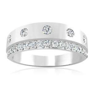0.36 Ct Natural Diamond Mens Engagement Band 18K Solid White Gold Ring Size 10