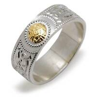 Irish Ladies Celtic Warrior Shield Ring - Silver & 14k Embossed Gold Center