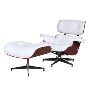 Rosewood White Lounge Chair Recliner Armchair Ottoman 100% Genuine Leather