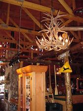 CAST WHITETAIL DEER CASCADE ANTLER CHANDELIER 9 lt. by CDN, Rustic Lights