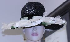 vintage ladies hat wide brim black straw velvet band silk flowers adorn brim