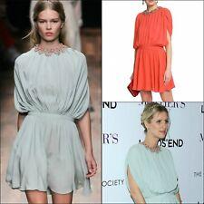 $5500 Valentino Women Coral Summer Cocktail Evening Short Silk Dress Size 38 XS