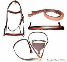 D.A. Brand Premium Dark Oil Leather Race Bridle w/ Yoke & Rings Horse Tack