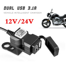 12V-24V Motorcycle Motorbike Dual USB Charger Phone Power Socket With Switch