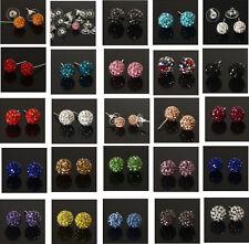 10 Colors Shamballa Stud Earrings 8/10mm Crystal Clay Disco Ball To Choice