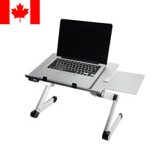 Silver Table Foldable Laptop Tray Desk W/Cooling Fan Tablet Desk Bed Sofa Couch