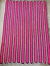 Vintage Handmade Crocheted Afghan Lap Throw Blanket Purple Pink Stripes Unique