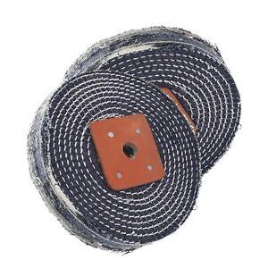 Spiral Stitched Denim Metal Polishing Buffing Wheel 6 Inch x 1 Inch 2 Pack