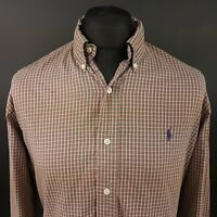 Polo Ralph Lauren Mens Vintage Shirt 16 40-41 LARGE Long Sleeve Olive Custom Fit