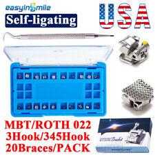 Dental Metal Brace Self Ligating Orthodontic Bracket Rothmbt 022 3345 Hook
