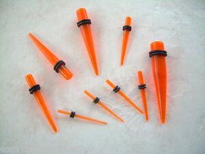 Ear Taper Plug Stretcher Expander Gauge Single UV Orange One Piece You Pick Size