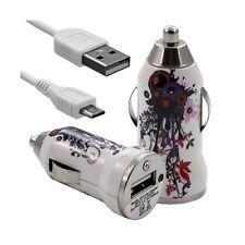 Chargeur Voiture Allume Cigare USB avec Câble Data avec HF12 pour Nokia : Lumia