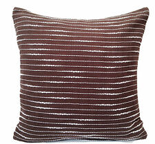 "Brown White Stripe Cushion Covers 16"" 40cm Sofa Scatter Cotton Machine Washable"