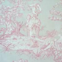 VIRGINIE  BEIGE / RED - MAS D'OUSVAN FRENCH TOILE 100%  COTTON FABRIC