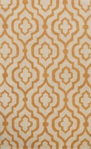 Contemporary Trellis Oriental Area Rug Hand-Tufted Wool 5x8 Ivory/ Orange Carpet
