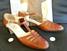 "Vintage Ferragamo T-strap Brown Leather Shoes Size 7 Aa Made in Italy 1.8"" heels"