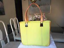ICEBERG Beige Leather / Green Fabric Shoulder Handbag Tote Bag - Made in Italy