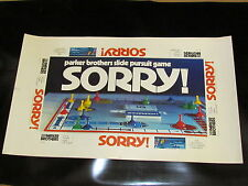 "Rare Mint 1972 Uncut Proof  For Board Game ""Sorry"" 1st original Printing Copy"