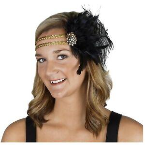 Adult Womens Feather Flapper Roaring 20s Halloween Costume Gold Braid Headband