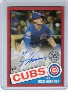 NICO HOERNER 2020 20 TOPPS 1985 STYLE ROOKIE SIGNATURE AUTO RED #ED 9/25 CUBS