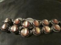 Beautiful Antique Quality Rare Solid Silver & Brown Cats Eye Moonstone Bracelet