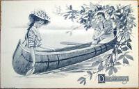 1911 Artist-Signed Postcard: Lovers 'Drifting' in Canoe