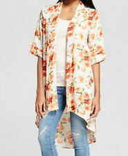 Women's Printed Duster Cardigan Ivory/Orange/Green SMALL THE VANITY ROOM NWT