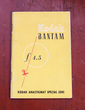 KODAK BANTAM F/4.5 ANASTIGMAT SPECIAL INSTRUCTION BOOK/cks/200968