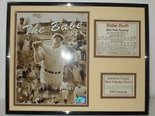 """BABE RUTH """"The BABE"""" COMMEMORATIVE PRINT with NY Yankees History and Stats."""