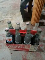 Vintage Coca Cola Bottles, rc cola, full with case, santa fe, Mitchell, joliet