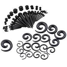 54Pcs Black Ear Gauges Kit Spiral Tapers Plugs Eyelets Stretching Set 14G-00G