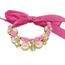 Pet Cat Dog Collar Bling Crystal Adjustable Puppy Bow tie Buckle Necklace