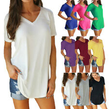 Women Summer V Neck Short Sleeve Tunic T Shirt Solid Loose Casual Tops Blouse