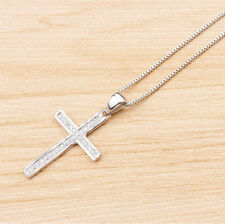 """Women 925 Sterling Silver Micro Pave CZ Crystal Cross Pendant Necklace Chain 18"""""""