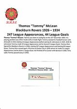 TOMMY McLEAN BLACKBURN ROVERS 1926-1934 VERY RARE ORIGINAL HAND SIGNED CUTTING