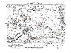 Old map of Bedlington,Sleekburn, Cambois, Northumberland in 1924: 70SW repro
