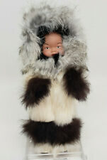Animal Fur Coat Covered Eskimo Doll Plastic Body Native Unique Alaska Handmade