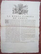 1774 BANDO DA TORINO SU GUANTAI E COMMERCIO DI PELLI VERDI DI AGNELLO E CAPRETTO