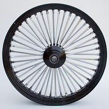"Black & Chrome 48 King Spoke 23"" x 3.5"" Front Wheel for Harley and Custom Models"