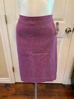 "J. Crew Purple Wool Herringbone ""The No. 2 Pencil Skirt"", Size 4"