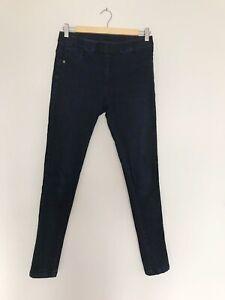 Women Jeans S M Denim Jeggings Skinny Slim Fit 10 12 Stretchy Trousers Dark Blue