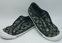 Coach Felix Laceless Sneaker A5010 Jacquard Black White Logo Slip On Shoe Sz 6B