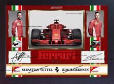 2018 Sebastian Vettel Kimi Raikkonen Ferrari signed autograph print photo FRAMED