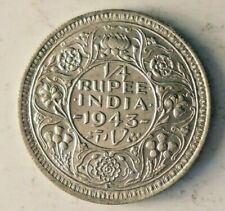 1943 BRITISH INDIA 1/4 RUPEE - AU/UNC - WW2 Rare Vintage Silver Coin - lot #A13