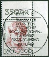 Berlin 828 Eckrand gestempelt Vollstempel ESST Berlin 12 Ecke 2 Frauen 350 Pf.